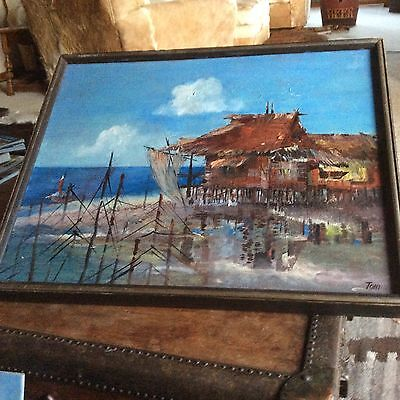 Antique Oil Painting Ocean Nautical Sea Shack Tropical Signed Toni Amazing Color