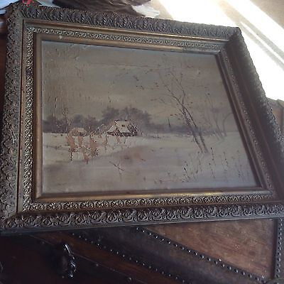 ANTIQUE OIL PAINTING 19th C VICTORIAN GILT FRAME WITH FARM IN WINTER GORGEOUS