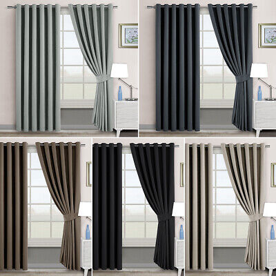 2X Blockout Curtains Eyelet 3 Layers Pure Fabric 100% Blackout Room Darkening AU