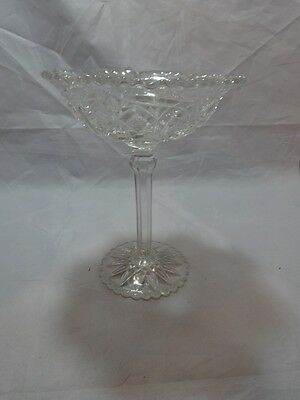 "Vintage BRILLIANT CUT Tall Footed COMPOTE Hobstars Crosshatching SCALLOPED 8"" T"