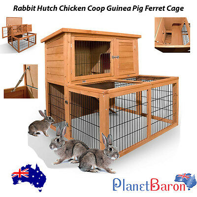 Rabbit Hutch Chicken Coop Guinea Pig Ferret Cage Hen House 2 Storey Run