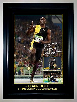 Usain Bolt 9 Time Olympic Gold Medallist Photo Collage Signed Print Or Framed