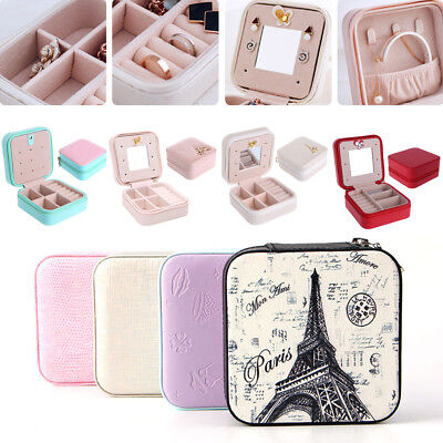 Leather Cosmetic Jewelry Box Necklace Ring Storage Travel Display Case Organizer