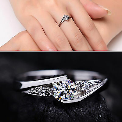 WL Women Silver Plated Cubic Zirconia Engagement Wedding Ring Size 10-17