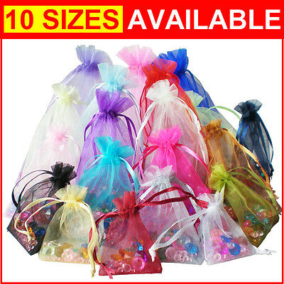 100pcs Luxury Organza Gift Bags Wedding Party Favour Jewellery Packing Pouches