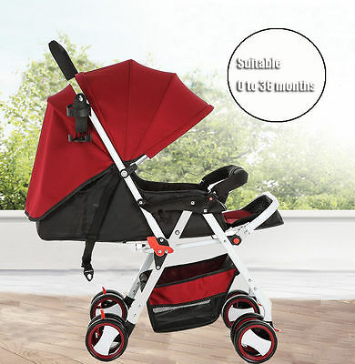 New Deluxe Alloy Frame Layback Recline Umbrella Fold Baby Stroller Lightweight