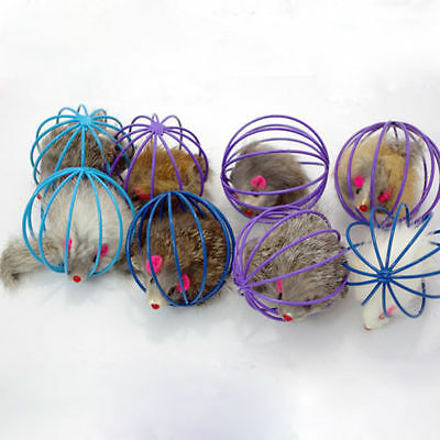 Play Playing Toys False Mouse in Rat Cage Ball for Pet Cat Kitten as Funny Gift&