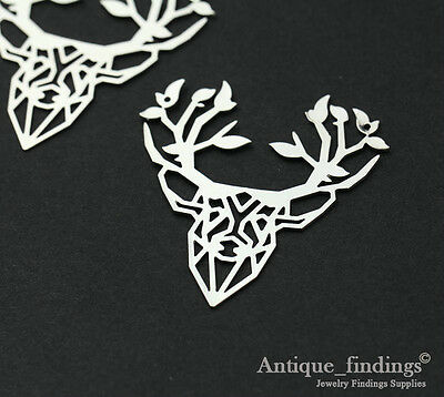1pcs High Quality Silver Plated Stag Charm Pendant TG208A