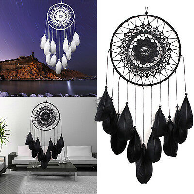 Handmade Lace Dream Catcher Feather Bead Home Hanging Decoration Ornament Gift