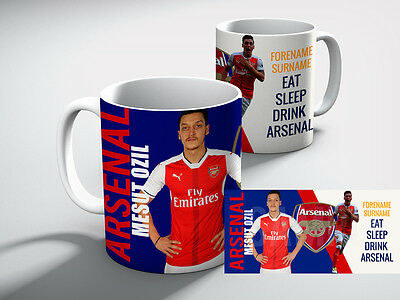 Personalised ARSENAL Football Mesut Ozil Club EAT, SLEEP DRINK ARSENAL  Mug Gift