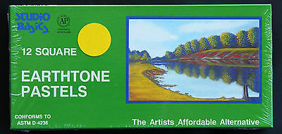 12 Earthtone Soft Pastels for Artists, Quality Square Vibrant Colours, Earth
