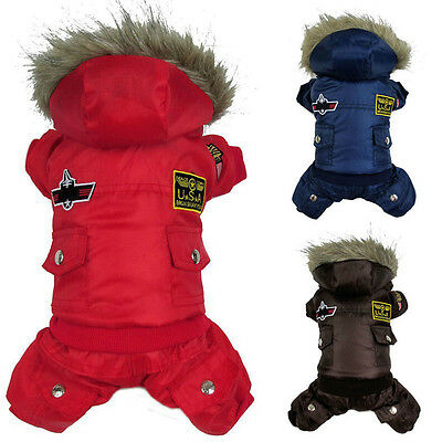 Dog Winter Warm Coat Pet Puppy Hoodie Jacket Costume Clothes Jumpsuit Sweater
