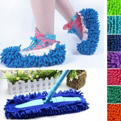 2Pcs Mop Slipper Bathroom Floor Dust Cleaning Polishing Cover Cleaner Foot Shoe~
