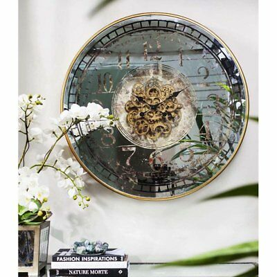 NEW Large Round Mirror Moving Cogs Wall Clock, 82cm