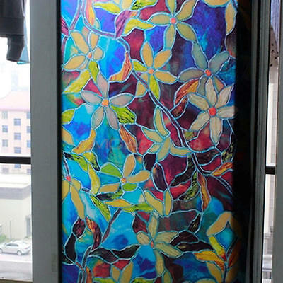 1*Static Cling Cover Stained Colorful Window Film Glass Privacy Home Decoration