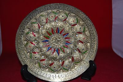 Decorative Wall Plaque in Brass and Enamel..Indian??