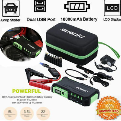 Portable 12V Car Vehicle Jump Starter Emergency Power Battery Charger Pack LED