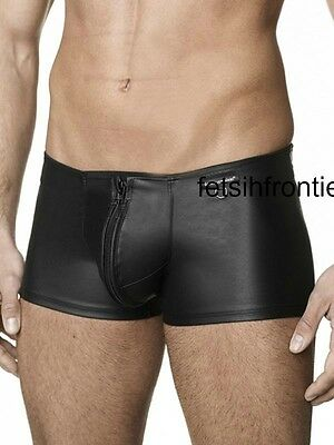 faux leather look skin tight zip front boxer shorts