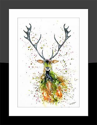 SkinnyDaz- A4/A3 Art Print from Original Watercolour Stag Painting