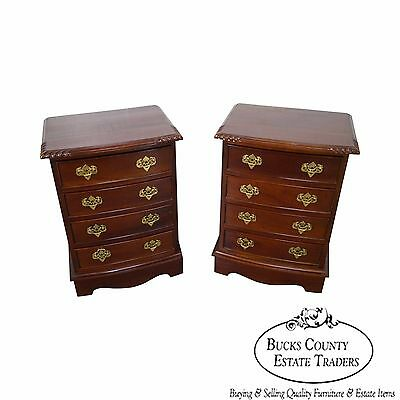 Solid Mahogany Pair of 4 Drawer Chests Nightstands