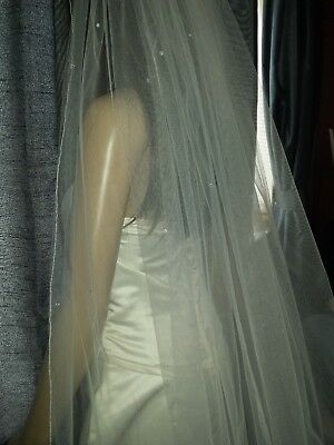 "Brides Ivory cathedral wedding veil with Swarovski crystal scatter 2T 30"" /108"""