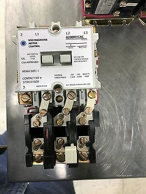 Westinghouse A200M1Cac Size 1 Starter Model J 120 Volt Coil Reconditioned Plated