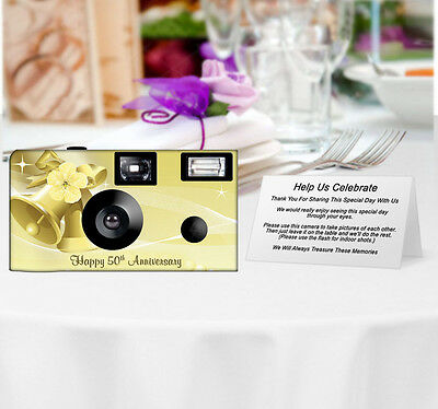 20 Gold Bells Disposable Cameras-PERSONALIZE-wedding camera/anniversary