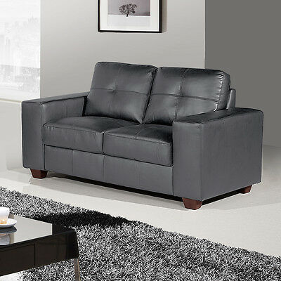 Roma 2 Seat Grey Leather Sofa 150cm Wide CLEARANCE / BRAND NEW