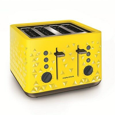 Morphy Richards YELLOW Prism 4 Slice Toaster | free shipping | 2 Year Warranty