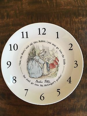"""Unused Wedgwood Peter Rabbit Plate with Clock Dial - 8"""""""