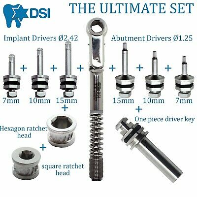 Dental Implant Differential Torque Wrench Ratchet Full Set + Drivers + 2 Heads