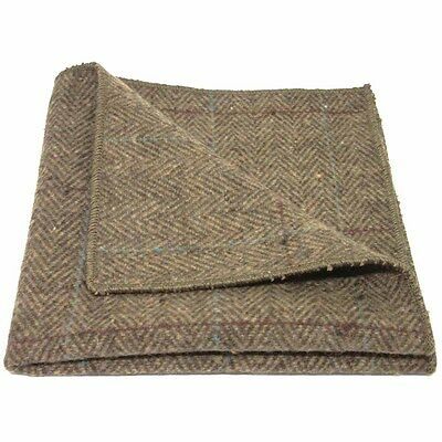 Luxury Herringbone Brown Tweed Pocket Square, Handkerchief
