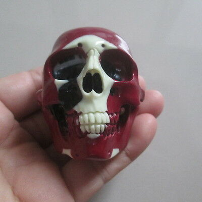 Hand Carved Head Skull in Billiard Pool Ball No 15 Carving Netsuke --- WOOW---