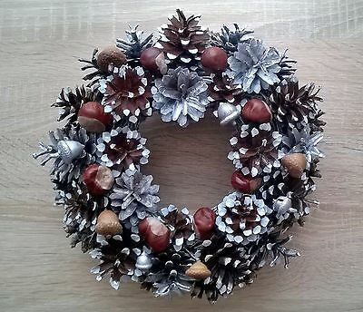 Christmas handmade wreath with natural pine cone 27cm