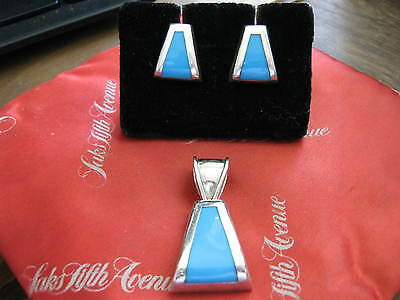 Taxco Mexico Sterling Silver & TURQUOISE Earring Pendant Set, TC or TF 223 LQQK!