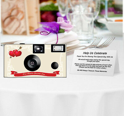 20 Two Hearts Disposable Cameras-PERSONALIZE-wedding camera/anniversary