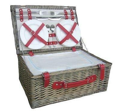 Luxury 4 Person Wicker Willow Hamper Picnic Basket Chiller Red
