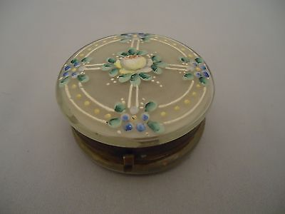 Antique Victorian Rd Trinket Pill Box Compact? with Hand Painted Enamel Flowers