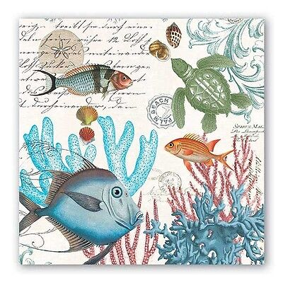 Michel Design Works Sea Life 20 Luncheon Paper Napkins with Colorful Fish - New