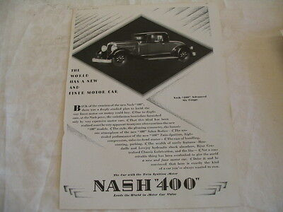 1929 Nash 400 - Package of four magazine ads - Coupe, 4 dr Sedan & Special Sedan