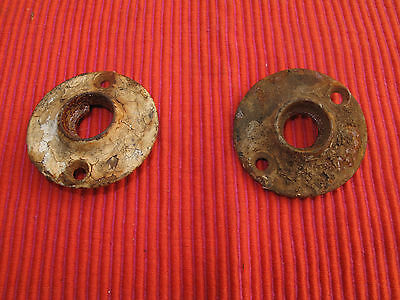 Pair Of Antique Ornate Cast Iron Victorian Gothic Doorknob Back Plates Surrounds