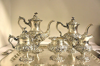 "Stieff Repousse Hand Chased Sterling  ""rose"" Tea & Coffee Set 5 Pcs."