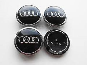 4 x BLACK AUDI CENTRE CAPS 69mm alloy wheel center Badges A  2 3 4 5 6 8 Q RS TT