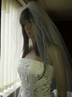 "Brides Ivory cathedral wedding veil Diamante Rhinestones 2 tiers 30"" / 108"""