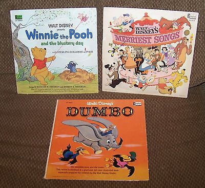 Lot of 3 Walt Disney Records Dumbo Merriest Songs Winnie the Pooh & the Blustery