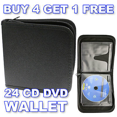 24 CD DVD Blu-Ray Discs - Storage Wallet Holder Carry Case Sleeves Box Organizer