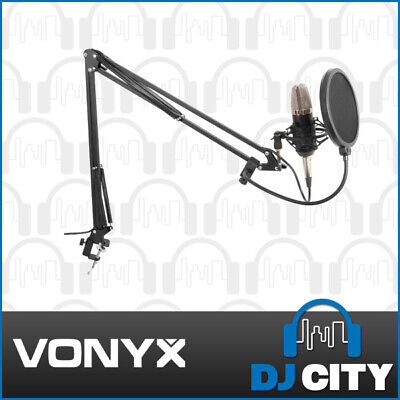 Vonyx Studio Vocal Microphone Set w/ Condenser Microphone + Stand + Pop Filter
