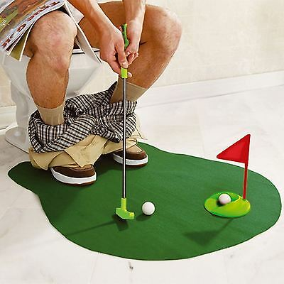 Toilet Mini Golf Potty Putter Bathroom Game Novelty Gift Toy Trainer SET-0804