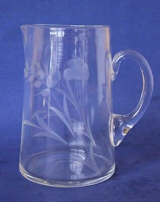 Antique Victorian Etched Glass Jug.  14cm.