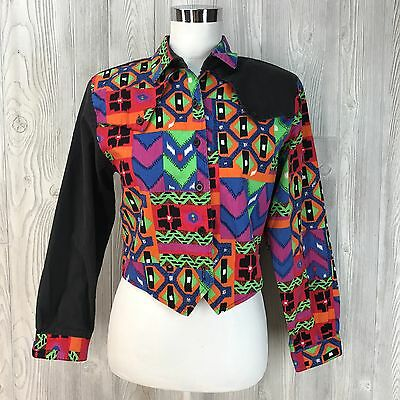99f1c6cd45bd Vtg Top Shirt 80 s Color Block Country Girl Western Cowboy Abstract  Roughrider